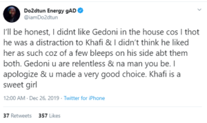 OAP Dotun, Tacha, Nina and more react after Khafi announced her engagement to Gedoni