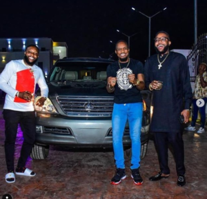 Photos: Actor Junior Pope receives car gift from Kcee and E-Money