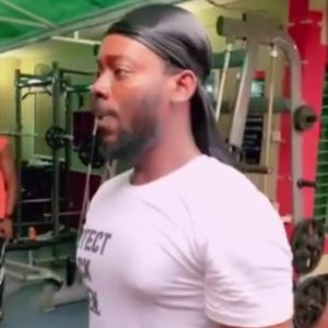 Determined Adekunle Gold hit gym to get fit (Video)