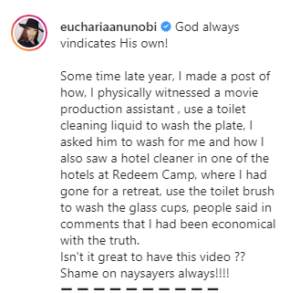 Eucharia Anunobi recounts how a hotel cleaner at a church camp allegedly used a toilet brush to wash glass cups